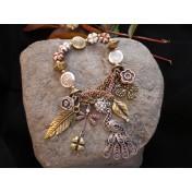 Tri-Tone Peacock Charm Bracelet