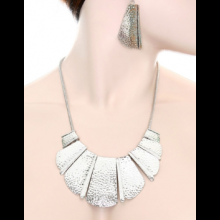 NC01 Metal Bib Necklace and Earrings